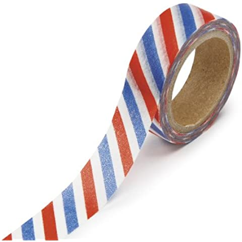 DARICE 1217-114 Washi Tape Roll, 5/8 by 312-Inches, Americana Stripe by Darice