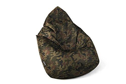 BuBiBag Sitzsack Tropfenform beanbag Sitzkissen für In & Outdoor XL 300 Liter - mit Styropor Füllung in 23 versch. Farben (Camouflage)