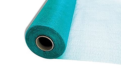 25m x 29cm Snow Sheer Organza Rolls Turquoise Blue with Glitter Fabric - Perfect as Christmas, Wedding or Party Decorations by Trimming