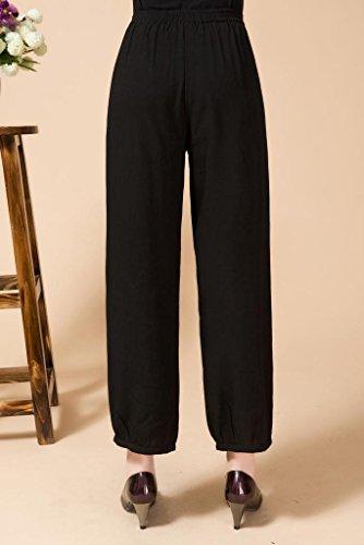 Bigood Pantalon Bouffant Femme Lin Coton Grande Taille Casual Broderie Motif Fleur Elégant #1