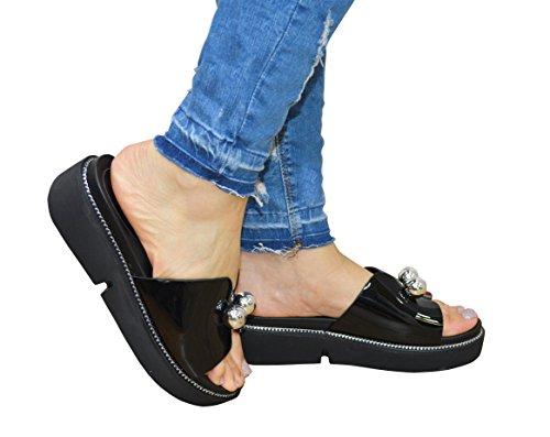 Nouveaux Femmes Femmes Vert Papillon Style Slip On Sandal Blanc