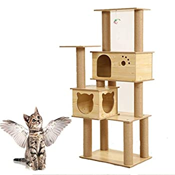 XLO Chat Tree Tower Condo Meubles Scratching Post House 3 Couches Chaton Condo Pet Maison Meubles - Condos Tabby Perch