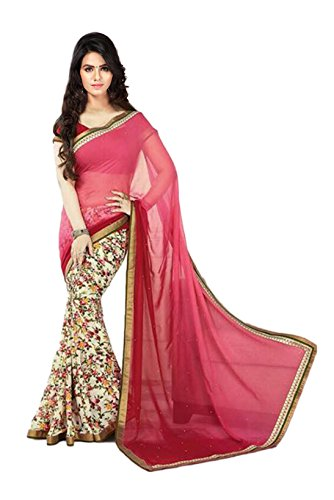 Janasya Women's Pink Half Half Georgette Printed Saree (JNE0972-SRE-PINK)  available at amazon for Rs.499