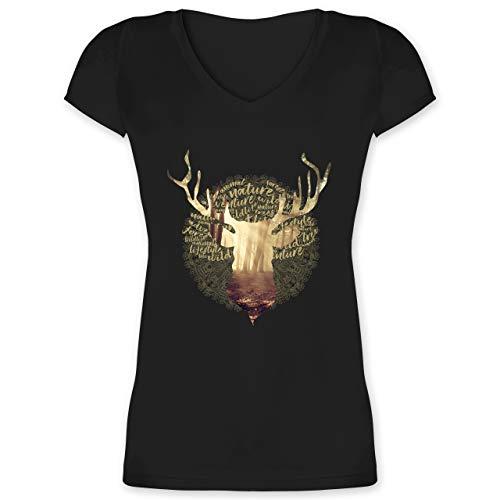 Oktoberfest Damen - Hirsch - XL - Schwarz - XO1525 - Damen T-Shirt mit V-Ausschnitt