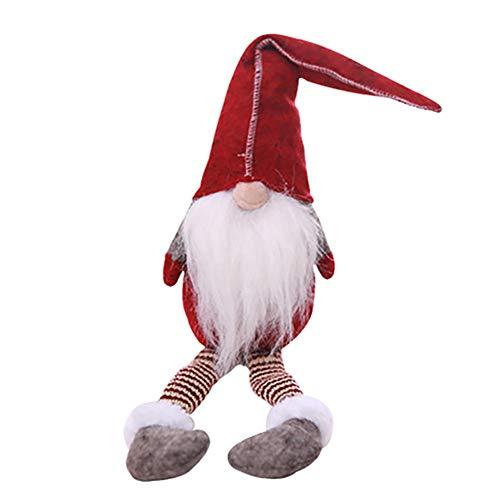 1pcs Weihnachtsdekoration Santa Plüsch gesichtslose Lange Beine Puppen Spielzeuggeschenk Anhänger für Fenster ()