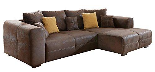 CAVADORE 503 Ecksofa Love Seats/Polster Eck-Couch mit Kissen/In Antik-Leder-Optik mit nussbaumfarbenen Holzfüßen/285x69x170 (B x H x T)/Braun