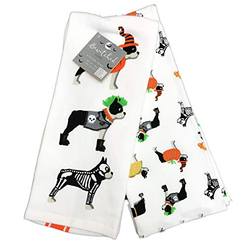Kostüm Bewitched - Happy Halloween Boxer Hunde in festlichen Kostümen 2er Set Deko Küche Urlaub Handtücher