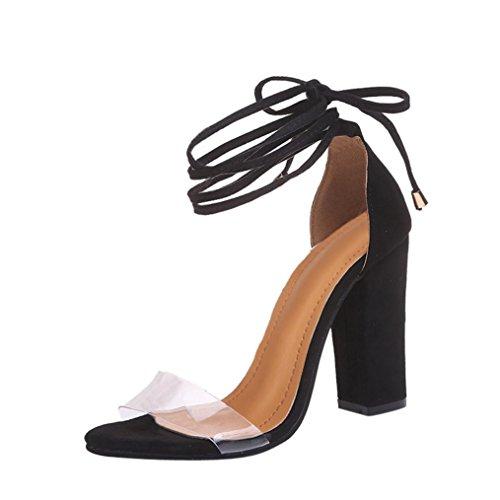 Damen Sandalen, Dasongff Damen Riemchensandalen Chunky Heel Sandalen mit Schnürung Sandalen Pumps High Heels Schuhe Weibliche Schuhe 9cm Absatz Elegant Sommer Schuhe