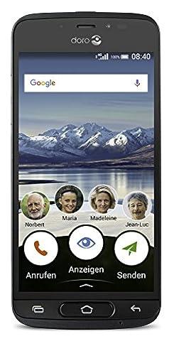 Doro 8040 Smartphone débloqué 4G (Ecran : 5 pouces - 16 Go - Nano Sim - Android 7.0) Gris