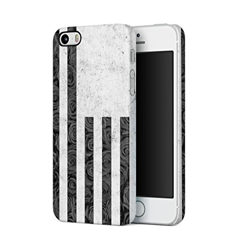 USA Flag Grey Marble & Black Rose Stripes Apple iPhone 5 / iPhone 5S / iPhone SE SnapOn Hard Plastic Phone Protective Fall Handyhülle Case Cover (Iphone Urban Fall 5)