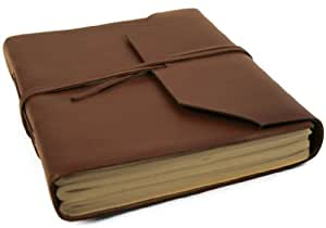 Indra Large Brown Leather Wrap Journal (21cm x 15cm)