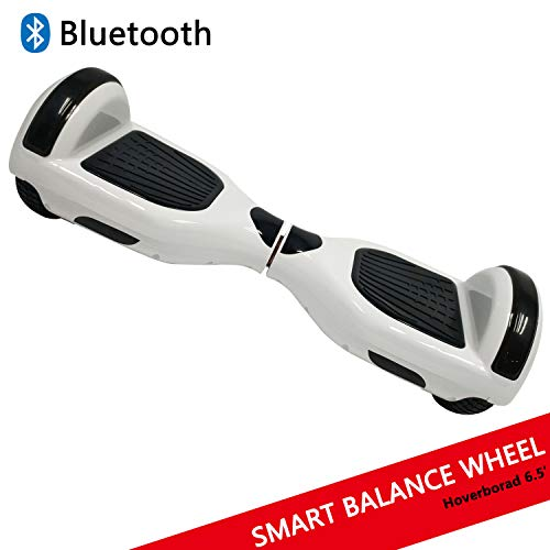 Hoverboard con ruedas de 6.5' Scooter eléctrico Self-Balancing Self Blance Scooter Monopatín eléctrico Smart Self Balance Board dibujo en color (Blanco)