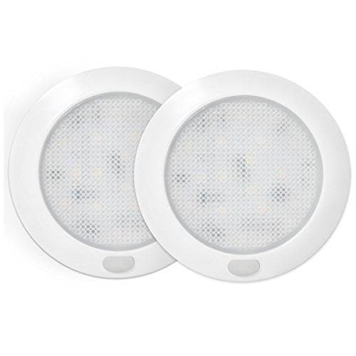 Preisvergleich Produktbild Dream Lighting 12V 76mm LED Deckenleuchte mit Schalter/LED Unterbauleuchte für Wohnwagen/Reisemobil/Wohnmobil, Warm Weiß, 2 Stück in jeder Packung