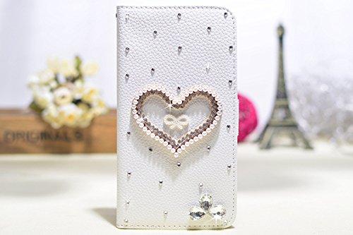 Coque iPhone 5C , iNenk® Sac à main Case w/carte ID titulaire blanc luxe 3D la main paillettes Bling diamant perle Crystal portefeuille pochette carte-Ange Fée Coeur Avec bowknot