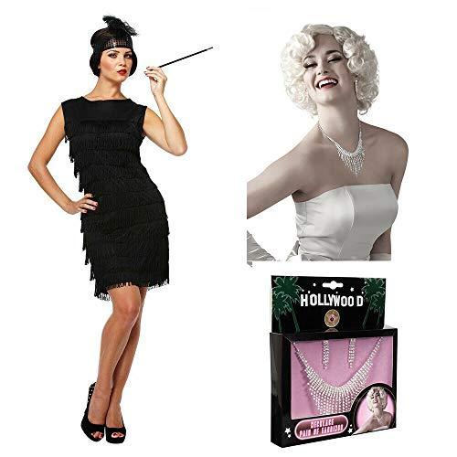 Kostüm Schmuck Charleston - Unbekannt Charleston Kleid 1920er Flapper Kleid - Charlestonkleid Kostüm - vertrieb durch ABAV (Schwarz Kleid + Schmuck Set)