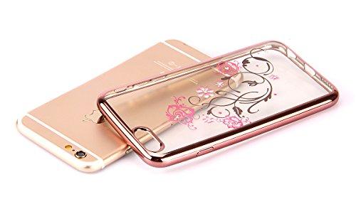 iPhone 3S, Iphone 6cas, nsstar Rose Gloden Coque Perle Bling Cristal Strass diamants en caoutchouc transparent plaqué rose coque souple en TPU Cadre Transparent Coque bumper en silicone pour Apple iP Rose Golden:Pink Flower Vines