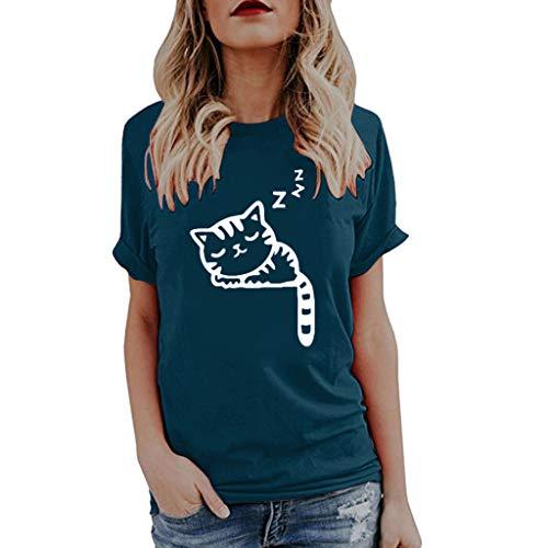 OSYARD Damen Mädchen Mode Bluse mit Katze Drucken Lässige Tank Top ärmelloses Weste O-Ausschnitt Sweatshirt Freizeit T-Shirt