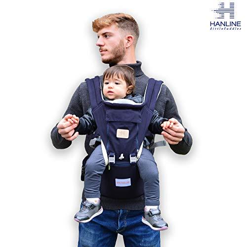 Hanline littlecuddles - marsupio neonati - zaino porta bambino ergonomico 3 in 1 [3 colori] - tessuto di alta qualità/traspirante/facilmente regolabile - per bambini 0-3 anni (navy blue)