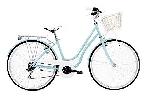 """Bici Retro - Bicicleta urbana -Bici de paseo Cloot Marleen Blue Cambio Shimano de 18 velocidades, llantas de 28"""", cesta de mimbre, portabultos, Talla: (De 1,60 a 1,85)"""