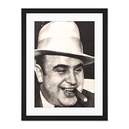 Painting Portrait Gangster Al Capone Cigar Crime Large Art Print Poster Wall Decor 18x24 inch Supplied Ready To Hang With Included Mount Brackets Malerei Porträt Kriminalität Große Kunst Wand Deko