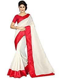 Pramukh Suppliers Women's Chanderi Cotton Saree With Blouse (Jyotika Red Saree_Red)