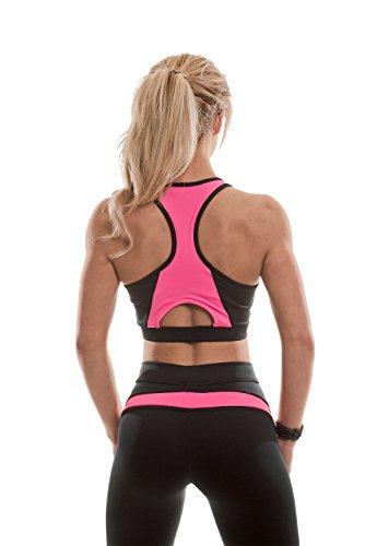 MusclePharm MPLTOP430 Crop Top - Damen Sport-Bustier Schwarz / Pink