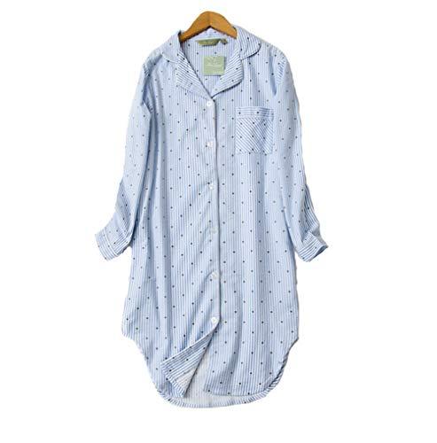 DSJJ Pyjama en Coton à Manches Longues pour Femmes, Chemise de Nuit Femme boutonnée Devant,vêtements de Nuit, Grandes Tailles (M-2XL)