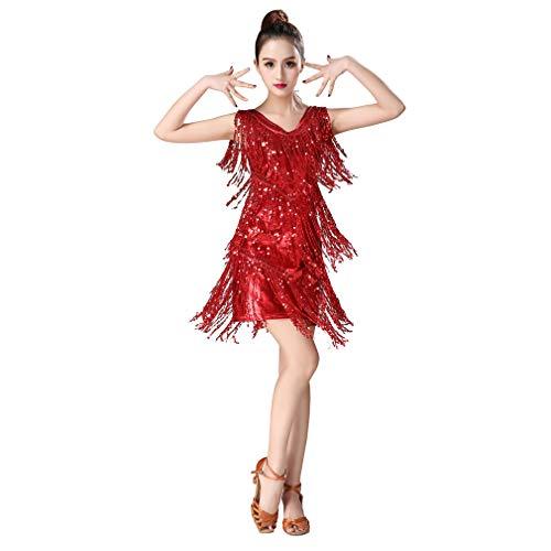 Magogo Latin Dance Dresses Pailletten Quasten Abschlussball-Kostüm Großer Gatsby Motto Partyrock (L, ()