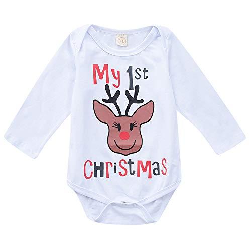 sunnymi Für 0-24 Monate Baby Weihnachten Spielanzug Langarm Outfits Overall Kleidung (6 Monate, Weiß)