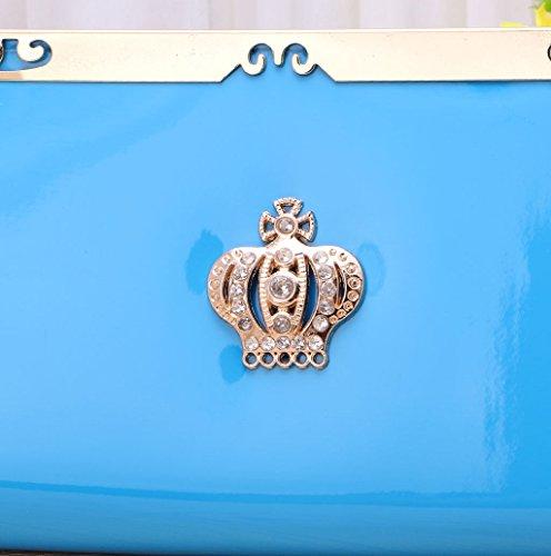 Dairyshop Sacchetti della borsa del supporto della carta del raccoglitore del cuoio della borsa della signora frizione delle donne di modo (azzurro) azzurro