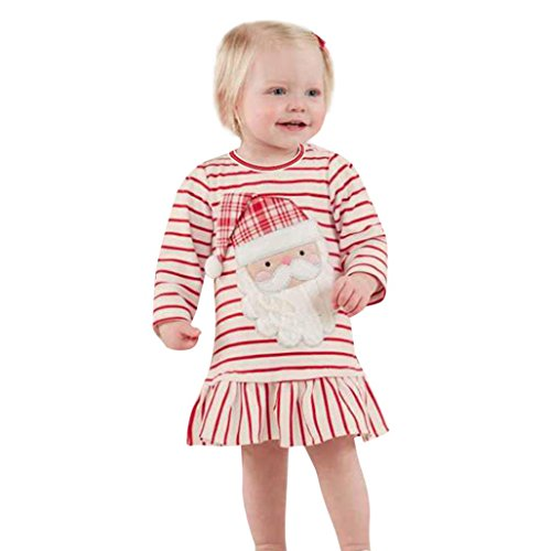 Striped Princess Dress Kids Baby Girls Christmas Outfits Clothes (120cm, Weiß) (Santa Claus Outfit)