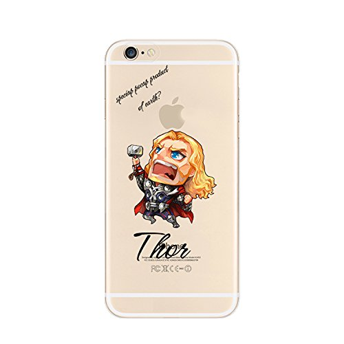 Ronney Super Héros Marvel & Cartoon Coque transparente en TPU souple pour Apple iPhone 5/5S/5 C/5S THOR