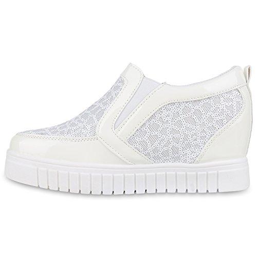 Damen Sneakers Keilabsatz Sneaker Wedges Lack Pailletten Weiß