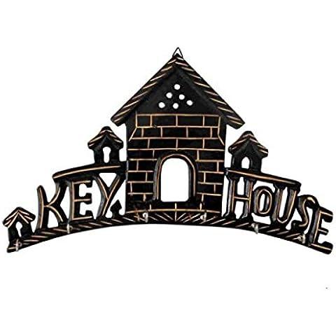 Clave diseño de casa para colgar en la pared Llavero de pared con 5ganchos, Home Kitchen Decor tallada a mano de madera, regalo para Navidad o cumpleaños a sus seres queridos por Affaires w-40006