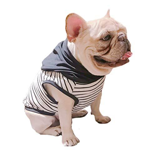 Nero Bianco con strisce nere con cappuccio Pet abbigliamento per french Bulldog o Pug uso comodo tessuto