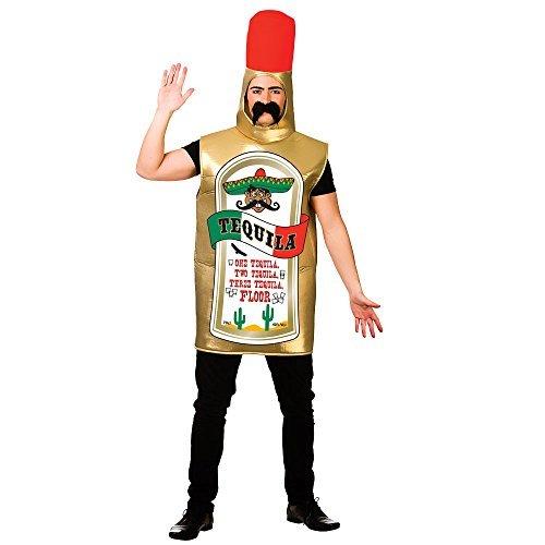 Erwachsenen-Unisex Tequila Flasche Kostüm Outfit für Drink Mottoparty Fancy (Flasche Kostüm Tequila)
