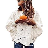 Gizayen Mujeres Tejer Camisa suéter, Casual Suelta Cuello Redondo Manga murciélago Tops otoño, Mujer Otoño E Invierno Jersey Long Pullover Suéter Punto Elegante Clásico Suéter Manga Larga Suelto