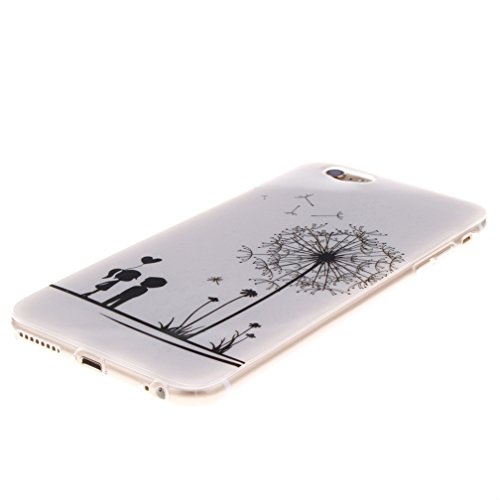 KATUMO®Apple iPhone 6S Plus Etui Weiche Silikon Schutzhülle Ultradünnen Anti-stoß Kratzfeste TPU Bumper Case für iPhone 6/6S Plus Handyhülle Cartoon Brief Paar Löwenzahn