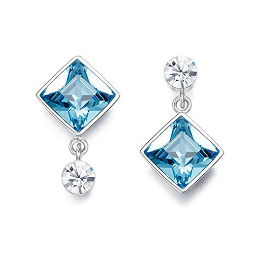 Adisaer Ohrringe Mädchen Echt Silber S925 Sterling Silber 925er Silber damen ohrringe Ohrringe Für Frauen Square Round Crystal Ohrstecker