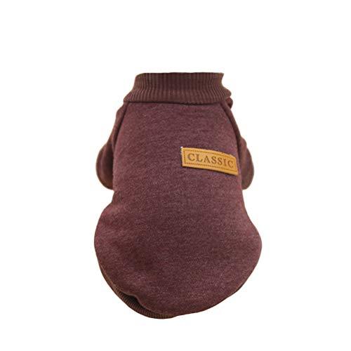 FENICAL Hund Strickwaren Pullover Katze Winter warme Gestrickte Kleidung für Haustiere - Größe L (braun)
