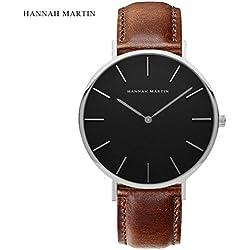 HARRYSTORE Men's Simple Design Brown Leather Band Wrist Watch Mens Classic Fashion Dress Analogue Quartz Wrist Watches Luxury Business Casual Wristwatch