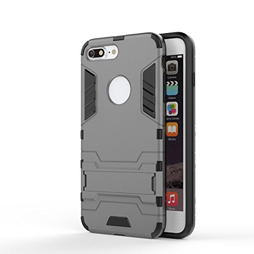 2 in 1 New Armour Tough Art Hybrid Dual Layer Rüstung Defender PC Hard Cases mit Ständer Stoß- Fall für iPhone 7 plus ( Color : Black-b , Size : IPhone 7 Plus ) Gray