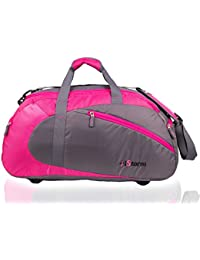 Istorm Polyester 45 Ltr Pink-Grey Sports Duffel