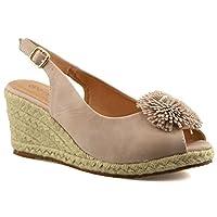 Cipriata Ladies Womens Buckle Espadrilles Mid Wedge Heel Peep Toe Sandals Shoes Size 3-8 - Nude - UK 5