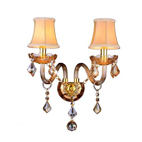 GBYZHMH Wall lamp-Wall Lamp'Double-Head Crystal Bougie Ambre chambre Hôtel Passage d'éclairage de chevet Balcon E14 Wall Light Bienvenue