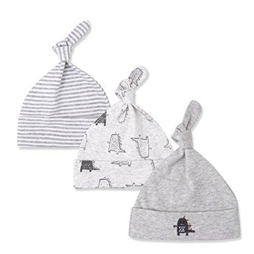 Volon Hüte Baby Neugeborenes Hut Für 0-6 Monate Junge Mädchen Mütze Hat Warm halten weich Baumwolle Kappe Frühling und Sommer Kind Cap 3 Stück MEHRWEG