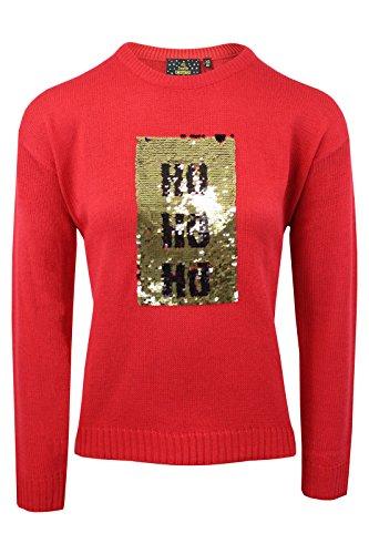 Brave Soul FEMMES NOËL FEMMES Festif Premium Pull Noël neige neuf 8-16 Ho Ho Ho | Red