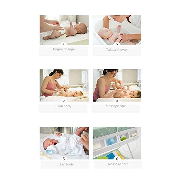 Baby Changing Table Baby Storage Bath Tub Unit Station Dresser Foldable Cross Leg Style AA-SS-Baby Changing Table 【Two in One Design】This baby changing table can be used as baby massaging table as 【Stable Construction】Non-skid feet covers and a sturdy frame keep the table stable and prevent movement. 【Waterproof Material】The surface of the top table is made of durable and wearable Oxford cloth and it can be used for a long period. 15