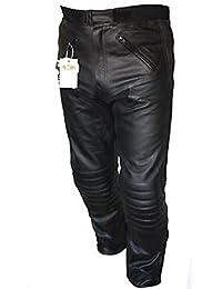 Pantalon de moto en cuir Sturgis - renforts certifiés CE - Noir - EU 56 court