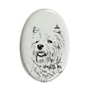 ArtDog Ltd. West hochland weiß Terrier, Oval Grabstein aus Keramikfliesen mit Einem Bild eines Hundes